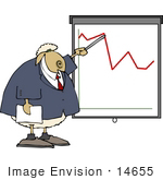 #14655 Sheep In A Business Suit Pointing At A Graph Clipart