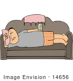#14656 Middle Aged Sedentary Cacuasian Man Being A Lazy Couch Potato Clipart