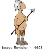 #14658 Silly Buck Toothed Man In A Helmet And Loincloth Holding A Spear Clipart