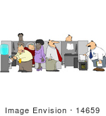#14659 Group Of Employees Working Near Cubicles In An Office Clipart