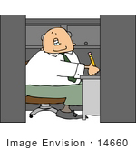 #14660 Caucasian Business Man Working In A Cubicle Clipart