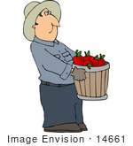 #14661 Apple Farmer Carrying a Bushel of Red Apples Clipart by DJArt