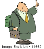 #14662 Middle Aged Caucasian Businessman With A Briefcase And Backpack Clipart