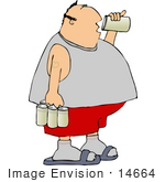 #14664 Middle Aged Caucasian Man Drinking Beer From A Can Clipart