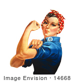 #14668 Picture of Rosie the Riveter Isolated on White by JVPD