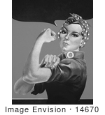 #14670 Picture of Rosie the Riveter Without Text, in Black and White by JVPD