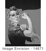 #14671 Picture Of Rosie The Riveter In Black And White No Text