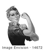 #14672 Picture of Rosie the Riveter in Black and White by JVPD