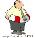 #14729 Chubby Businessman Wearing A Life Preserver Clipart