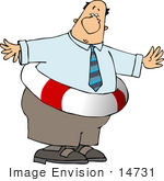 #14731 Chubby Business Man In A Life Saver Clipart