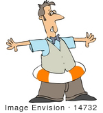 #14732 Man Wearing A Life Preserver Clipart