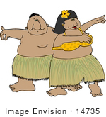 #14735 Two Hula Dancers Dancing Clipart
