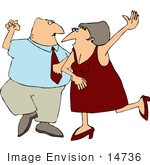 #14736 Middle Aged Caucasian Couple Dancing Clipart