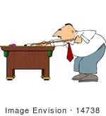 #14738 Man Playing A Game Of Pool Clipart