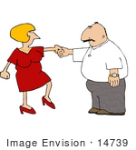 #14739 Middle Aged Caucasian Couple Dancing Together Clipart by DJArt