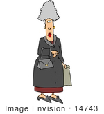 #14743 Senior Caucasian Woman Shopping Clipart