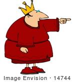 #14744 King in a Crown and Robe Pointing Clipart by DJArt