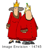 #14745 King And Queen In Red Robes Clipart