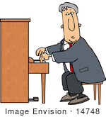#14748 Caucasian Pianist Man Playing the Piano Clipart by DJArt
