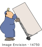 #14750 Caucasian Moving Man Using A Dolly To Move A Box Or Fridge Clipart