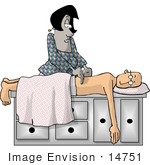 #14751 Masseuse Woman Giving a Spa Patient Man a Back Massage Clipart by DJArt