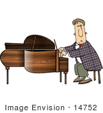 #14752 Pianist Man Playing A Short Grand Piano Clipart