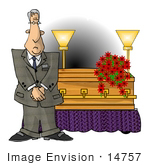 #14757 Mortician Man Standing By A Coffin Clipart