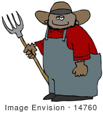 #14760 African American Farmer Man With A Pitchfork Clipart