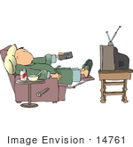 #14761 Middle Aged Caucasian Man In Pj'S Watching Tv Clipart