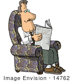 #14762 Caucasian Business Man Reading A Newspaper Clipart