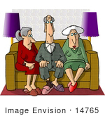 #14765 Group Of Retired Seniors Sitting On A Couch Clipart