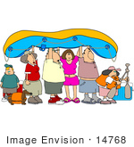 #14768 Adults Children And A Dog Going Rafting Clipart