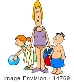 #14769 Mother And Children Ready For Beach Fun Clipart