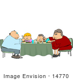 #14770 Overweight Family Eating Dinner At A Table Clipart