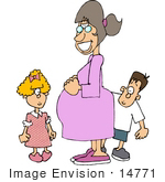 #14771 Pregnant Mother and Her Son and Daughter Clipart by DJArt