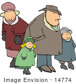 #14774 Caucasian Family In Hats Coats And Mittens Clipart