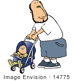 #14775 Caucasian Father Man Pushing A Baby In A Stroller Clipart