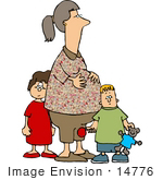 #14776 Pregnant Mother And Her Son And Daughter Clipart