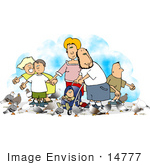 #14777 Caucasian Family Feeding Pigeons Clipart