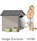 #14780 Man in a Dog House Clipart by DJArt