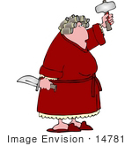 #14781 Angry Woman On Pms Holding A Knife And Axe Clipart