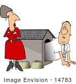 #14783 Caucasian Couple Having Marital Problems, Man in a Dog House Clipart by DJArt