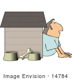 #14784 Man in a Dog House, Marriage Problems Clipart by DJArt