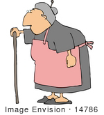 #14786 Senior Caucasian Woman Using A Cane Clipart