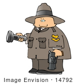 #14792 Forest Park Ranger Man With A Flashlight And Gun Clipart
