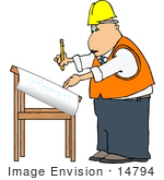#14794 Project Engineer Architect Man Working on Blueprints Clipart by DJArt