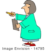 #14795 Caucasian Scientist Woman Holding A Pencil And Clipboard Clipart