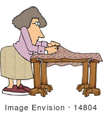 #14804 Caucasian Woman Making A Quilt Clipart