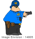 #14805 Caucasian Policeman With A Pistil Clipart