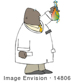 #14806 African American Scientist Man With A Beaker Clipart